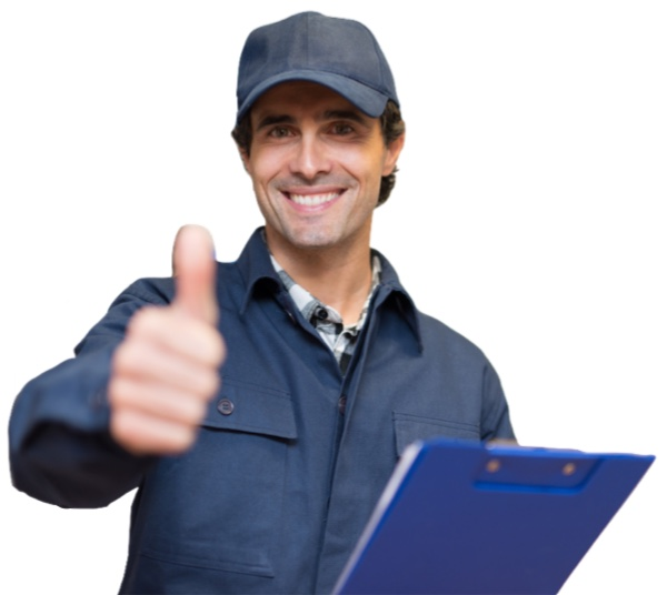 heating and cooling repair technician giving thumbs up
